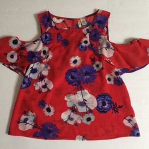 Japna Women's Red Cropped Top Floral S Flowy